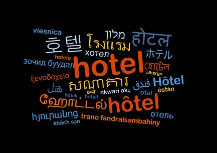 Hotel multilanguage wordcloud background concept